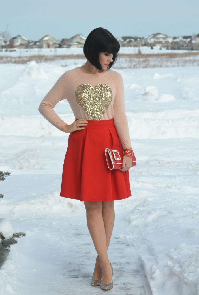 Heart Sweater, H&M sweater, red Skirt, Sheinside skirt, red Clutch, Chinese Laundry purse, Wrap Bracelet, Express bracelet, Sparkly Pumps, DSW Canada