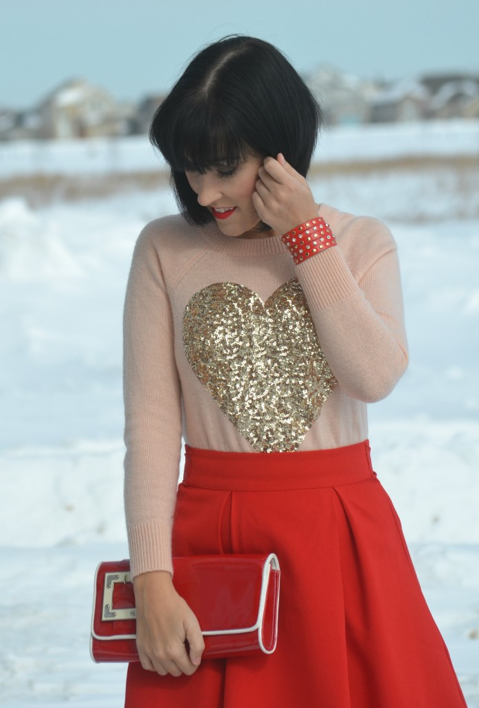 pink Heart Sweater, H&M pink sweater, red flared Skirt, Sheinside red skirt, red Chinese laundry Clutch, Chinese Laundry, Wrap red Bracelet, Express cuff, gold Sparkly Pumps, DSW Canada shoes