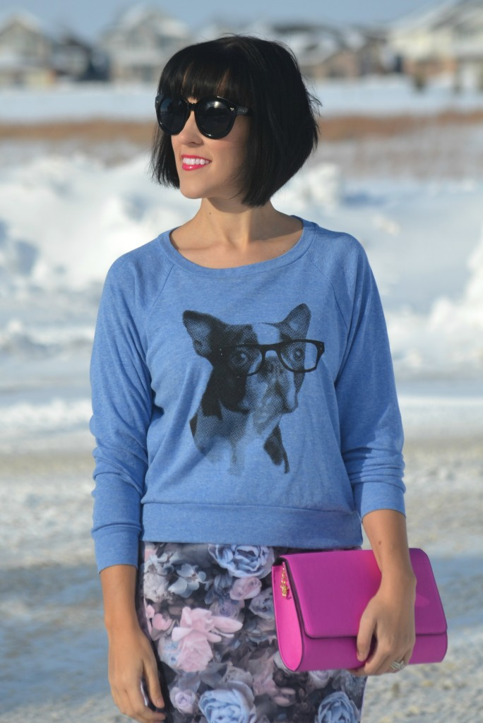 skip n whistle, black sunglasses, blue sweater, floral print skirt, smart set skirt, canadian fashionista