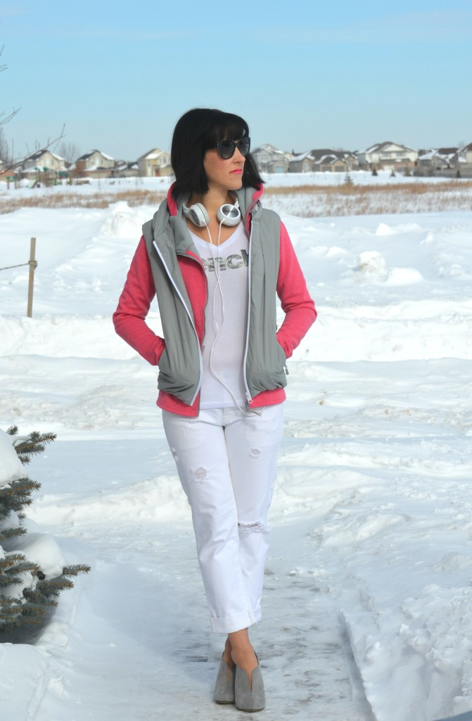 What I Wore, white Tee, Bench hoody, bench vest, boyfriend Jeans, The Gap jeans, grey Booties, Kohl's boots, sony headphones