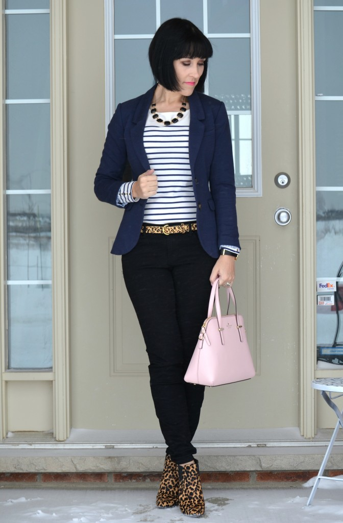What I Wore, stripped Top, Reitmans top, navy Blazer, h&M blazer, black necklace, wal-mart jewelry, marc Jacob watch, shopbop watch, animal print belt, the bay belt