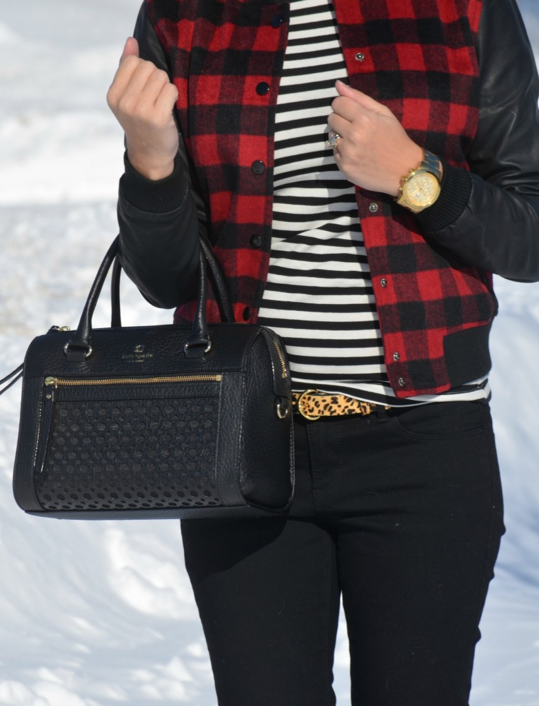 What I Wore, striped Top, H&M blouse, Plaid Coat, Forever 21 jacket, Animal Print Belt, The Bay belt, black Purse, Kate Spade handbag,