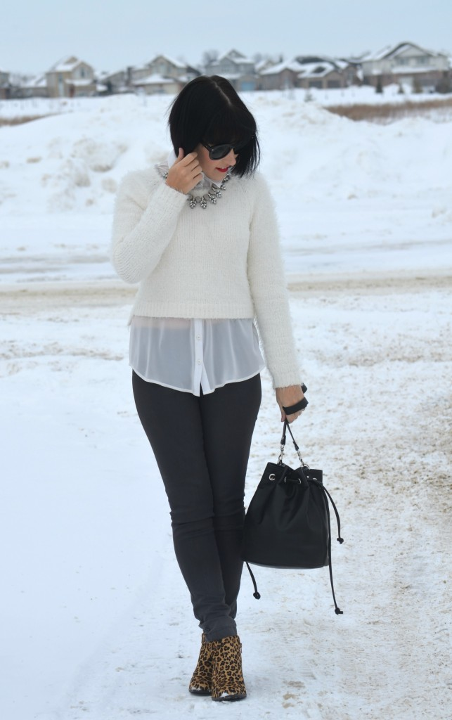 What I Wore, Sweater, Smart Set, Blouse, Dynamite, Necklace, Style Unstructured, Bucket Bag, Express Sunglasses