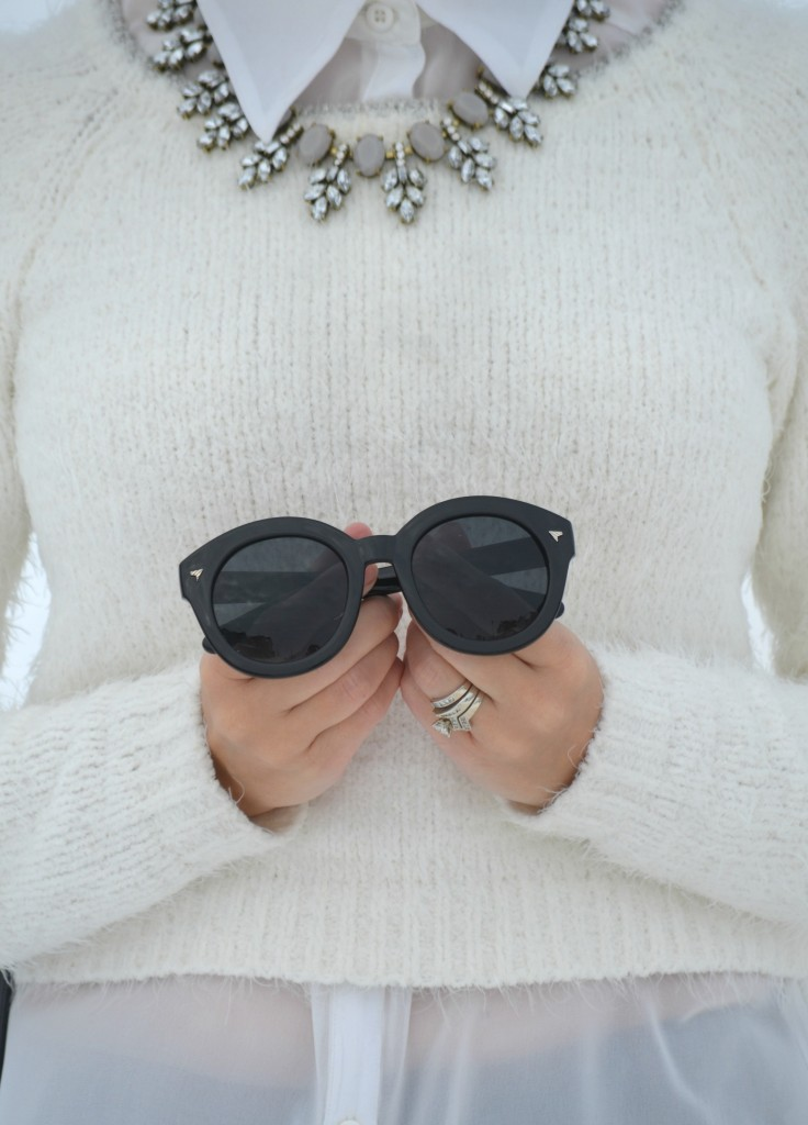 Polette Eyewear, What I Wore, Sweater, Smart Set, Blouse, Dynamite, Necklace, Style Unstructured, Bucket Bag, Express Sunglasses