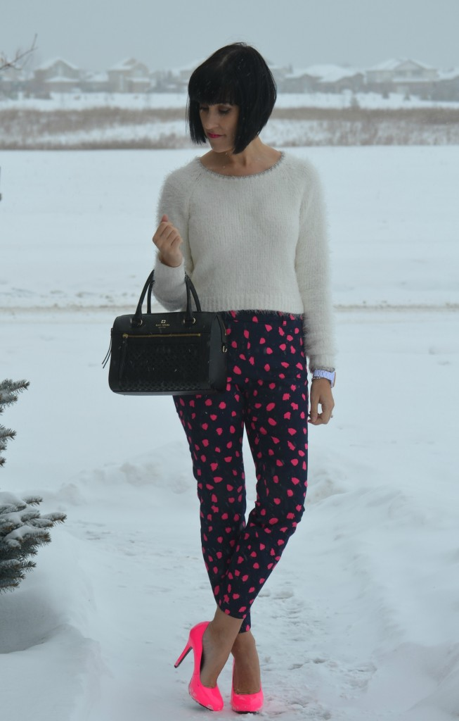 White fuzzy Sweater, Smart Set crop top, black kate spade Purse, Kate Spade purse, white fossil Watch, Fossil statement watch, crystal Bracelet, h&M pink Cigarette pants, H&M crop pants