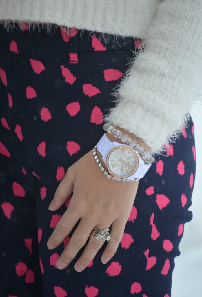 White Sweater, Smart Set top, black Purse, Kate Spade handbag, white Watch, Fossil watch, cystal Bracelet, pink Cigarette pants, H&M pants