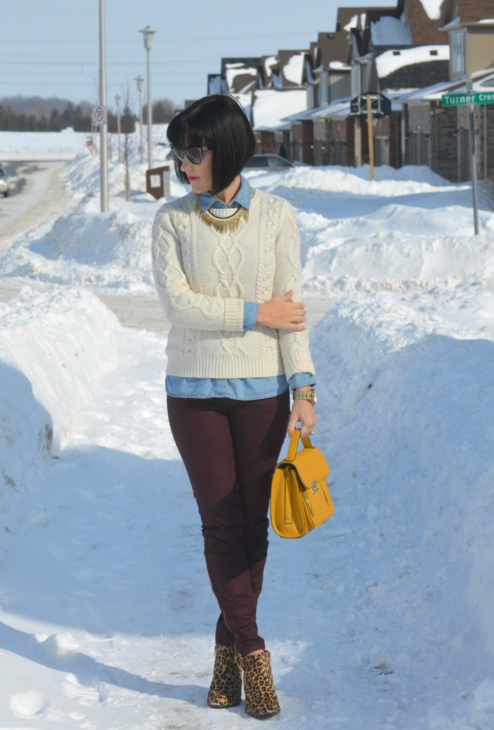 guess watch, mustard Purse, Phillip Lim for Target, purple Jeans, Smart Set jeans, animal print Booties, Vionic boots