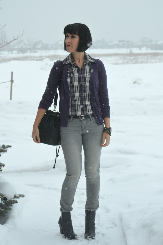 WIW, purple Blouse, Smart Set blouse, violet Cardigan, Joe Fresh cardigan, black Bucket Bag, Express bucket bag, black guess watch, guess statement watch, Swarovski wrap bracelet