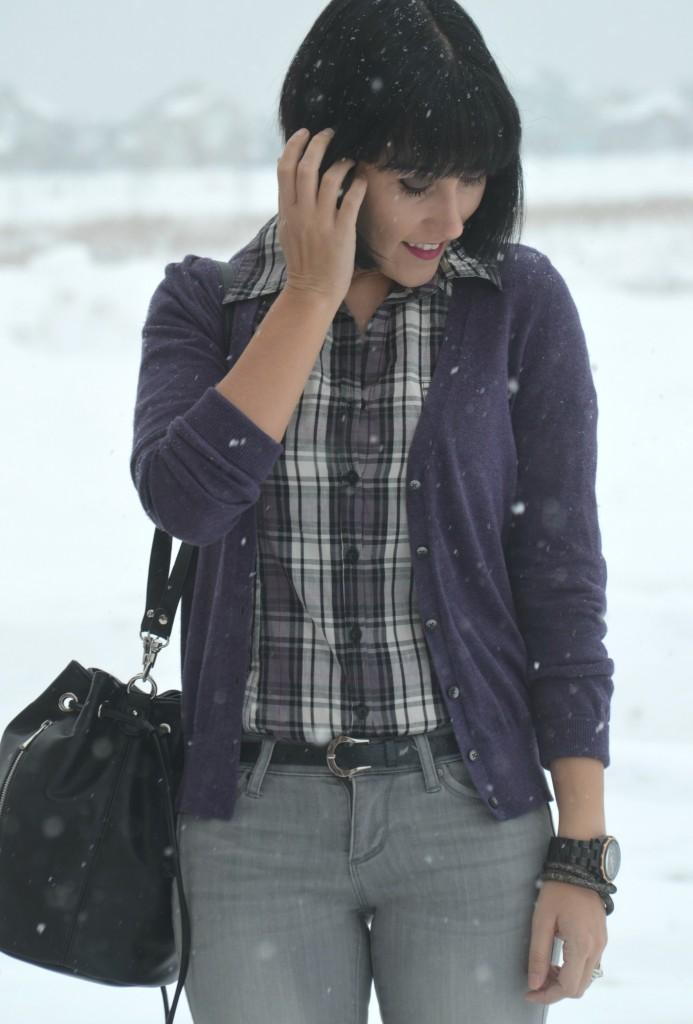 What I Wore, striped Blouse, Smart Set shirt, purple Cardigan, Joe Fresh sweater, Bucket Bag, Express purse, black watch, guess watch, Swarovski bracelet