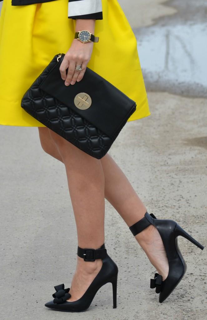Black Marc Jacob Watch, Shopbop watch, 424 Fifth Skirt, the Bay skirt, black pumps, aldo shoes, shoe clip, shoelry, black kate spade purse