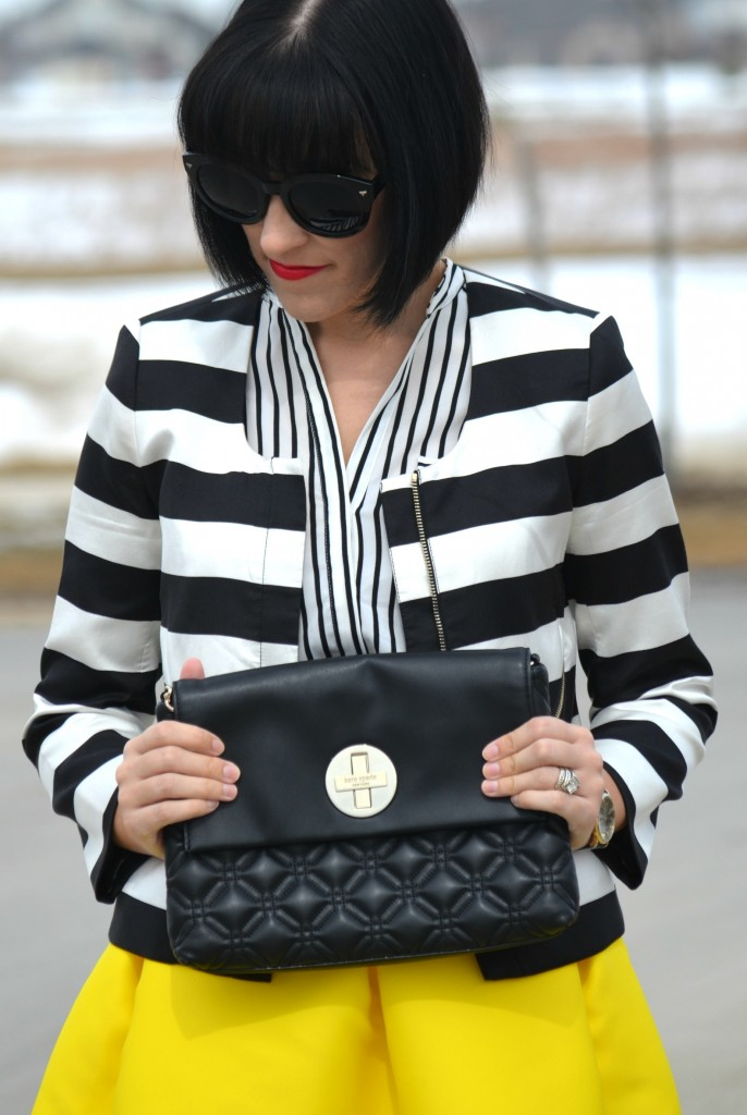 What I Wore, black and white Blouse, h&M blouse, cropped jacket, club Monaco jacket, oversize sunglasses, polette sunglasses, black purse, kate spade handbag, marc Jacob watch