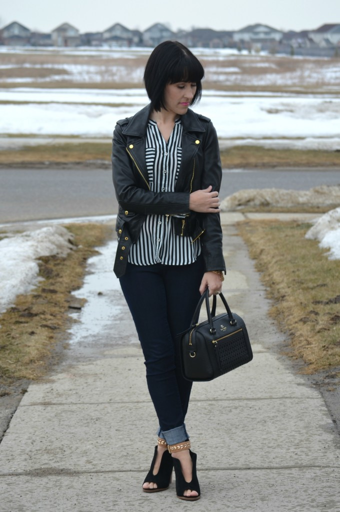 What I Wore, open toe booties, striped blouse, dynamite blouse, leather jacket, danier leather, black purse, kate spade handbag, black watch, gold bangles