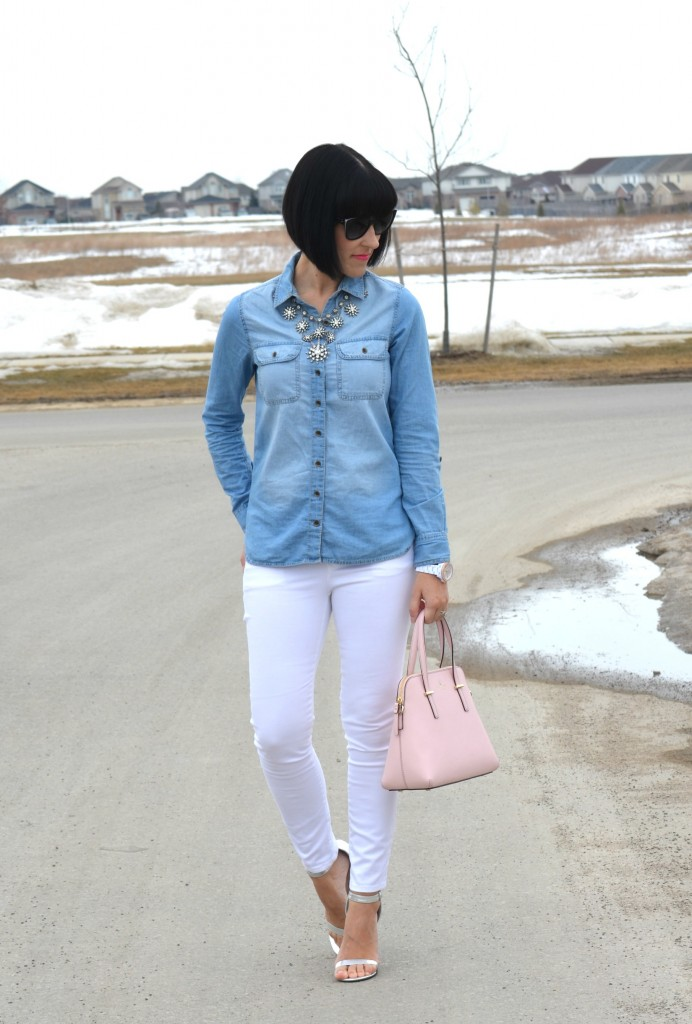 White Watch, Fossil watch, white jeans, the gap jeans, silver heels, silver strappy sandals, urban originals shoes, Canadian fashion blogger, western outfit