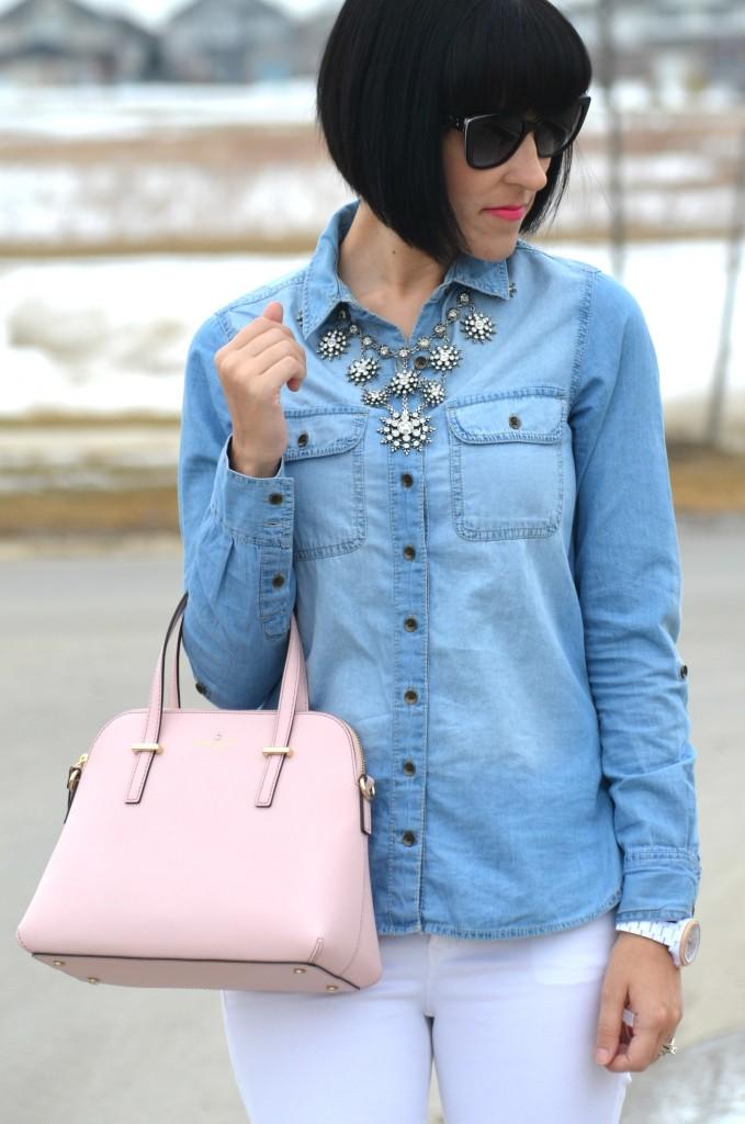 What I Wore, Denim Shirt, Smart Set denim shirt, statement Necklace, Cocoa Jewelry, Kate Spade Purse, Shopbop purse, pink handbag, D&G Sunglasses, SmartBuyGlasses