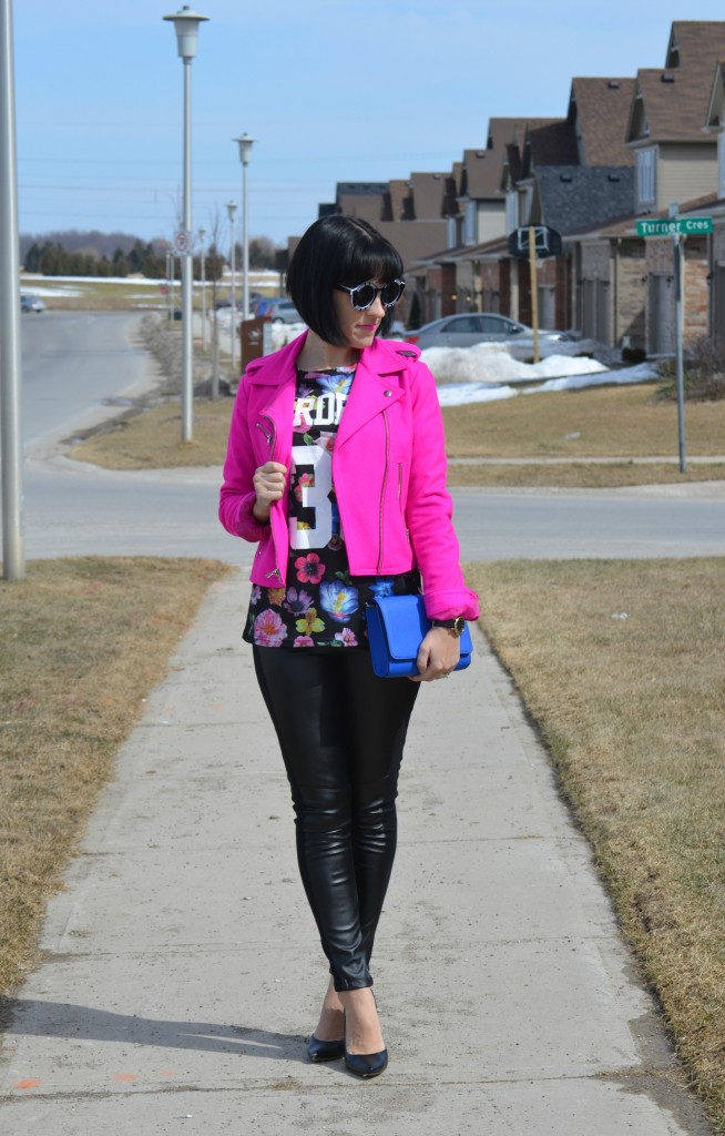 What I Wore, Floral T-shirt, Hot Pink Jacket, The Gap jacket, oversize Sunglasses, blue purse, faux leather pants, black pumps, target shoes, Canadian fashionista