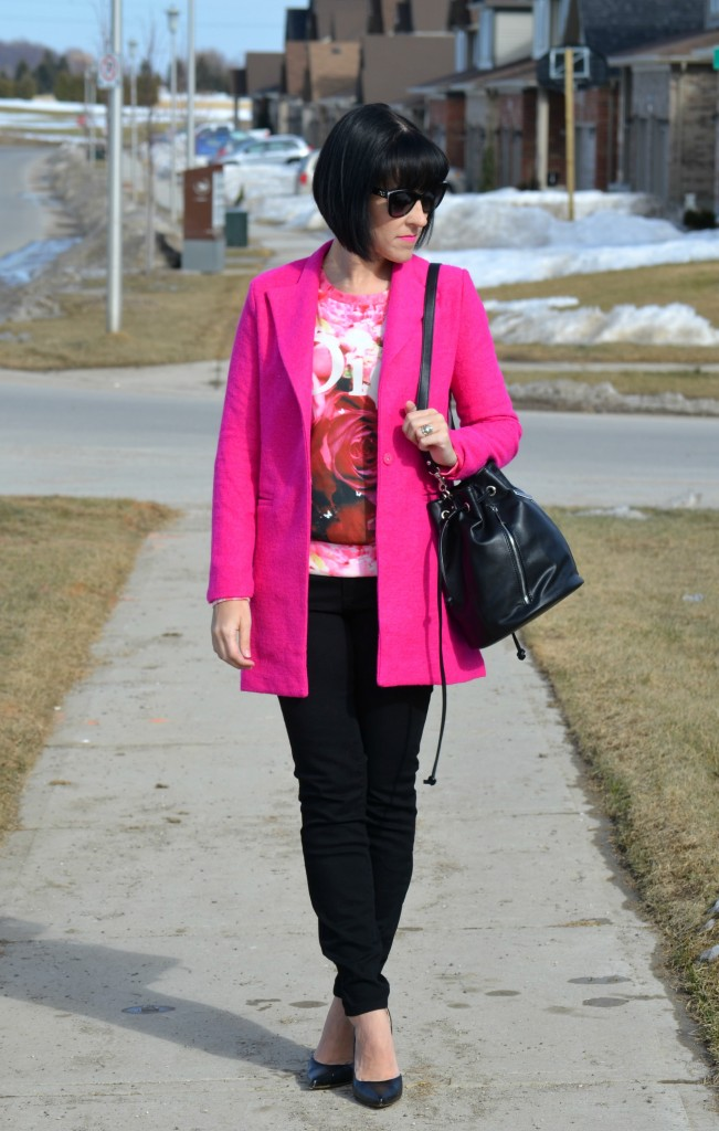What I Wore, dior sweater, pink sweater, sheinside sweater, hot pink jacket, sheinside coat, D&G Sunglasses, SmartBuyGlasses, Canadian fashionista, Canadian fashion blogger