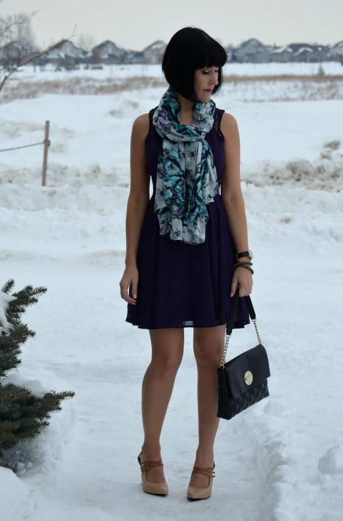 What I Wore, Lace Purple Dress, Avon dress, purple Scarf, avon scarf, black Purse, Kate Spade purse, Swarovski bracelet, Marc Jacob Watch, nude pumps,