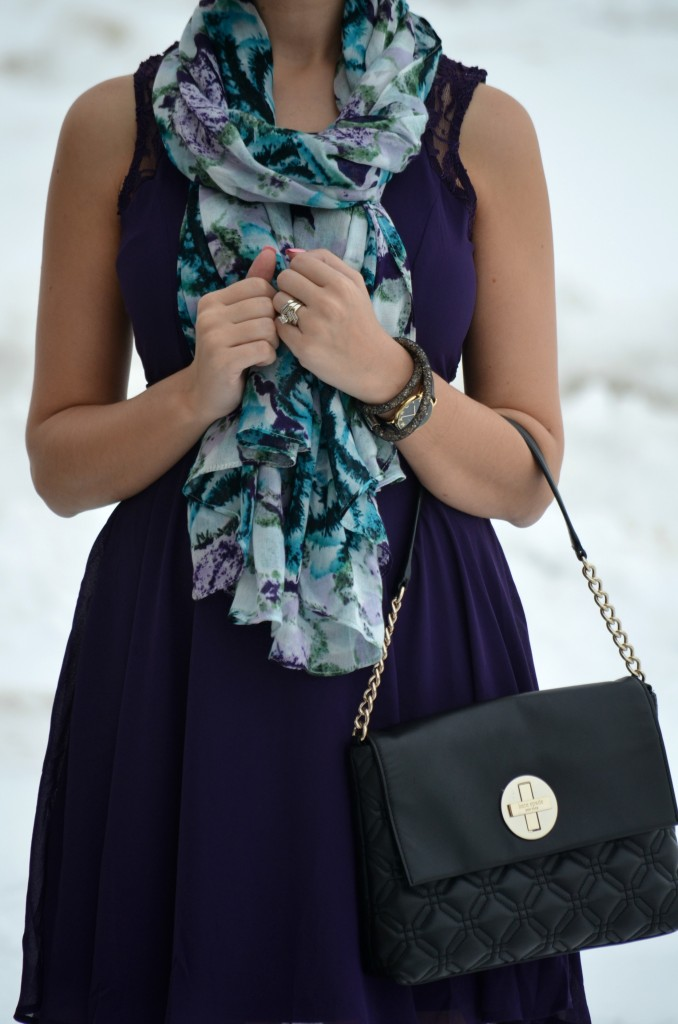 What I Wore, Lace Purple Dress, Avon dress, purple Scarf, avon scarf, black Purse, Kate Spade purse, Swarovski bracelet, Marc Jacob Watch, nude pumps,