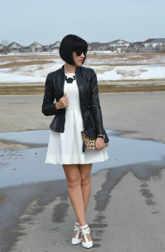 What I Wore, Canadian fashionista, White Dress, Forever 21 dress, statement Necklace, Cocoa Jewelry, black Sunglasses, oversize sunglasses, Polette sunglasses, black statement necklace