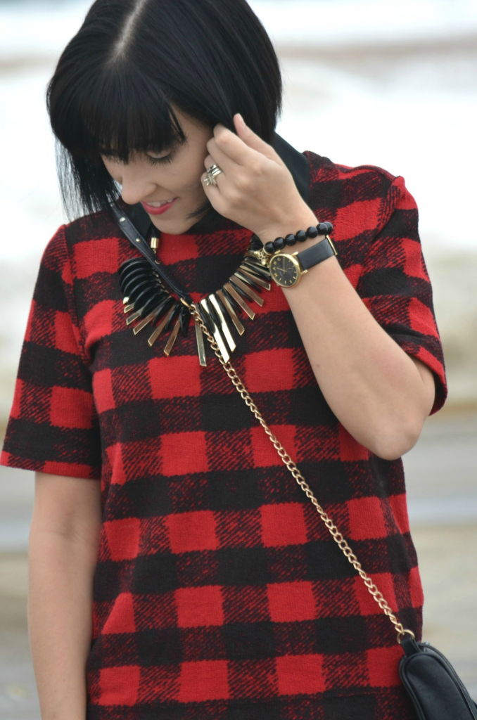 What I Wore, black blouse, Forever 21 blouse, Buffalo Plaid tee, Joe Fresh shirt, statement Necklace, black bead Bracelet, Cocoa Jewelry, Marc Jacob Watch