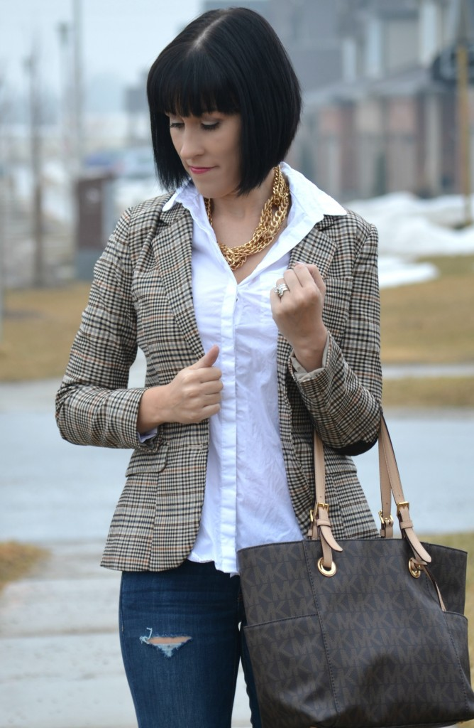 What I Wore, white Blouse, Smart Set button up blouse, checker blazer, h&m blazer, Michael Kors Purse, Ripped skinny Jeans, nude pumps, target heels, Canadian fashionista
