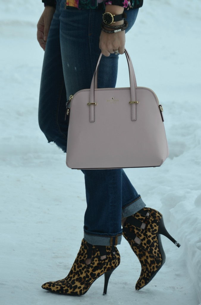 Kate Spade Purse, Shopbop purse, Boyfriend Jeans, The Gap jeans, Animal Print Booties,  Nine West booties, pink purse, pink kate spade handbag