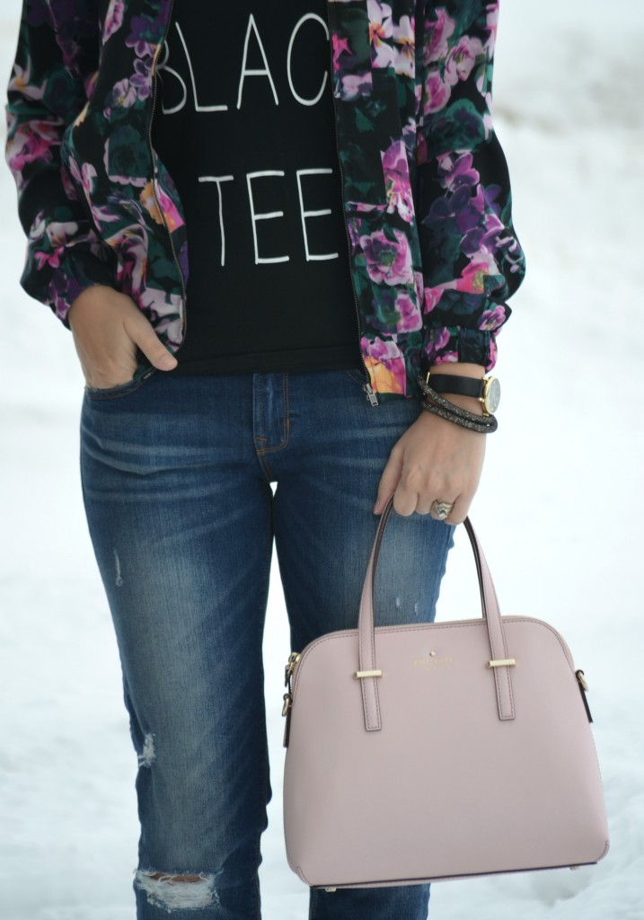 What I Wore, Petite Black Tee, Forever 21 tee, Floral Jacket, Smart Set jacket, Marc Jacob watch, Shopbop watch, crystal Bracelet, Swarovski bracelet, black t-shirt