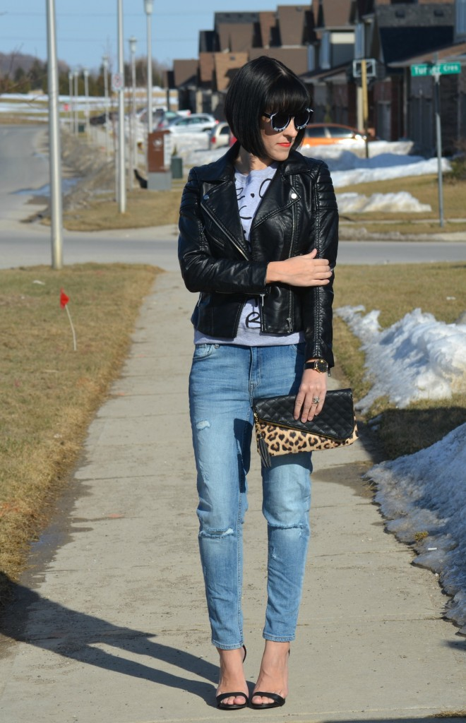 What I Wore, marc Jacob sweater, faux leather jacket, H&M leather jacket, black oversize sunglasses, marc Jacob Watch, animal print clutch, Jessica simpson clutch, Ripped Jeans, target black sandals
