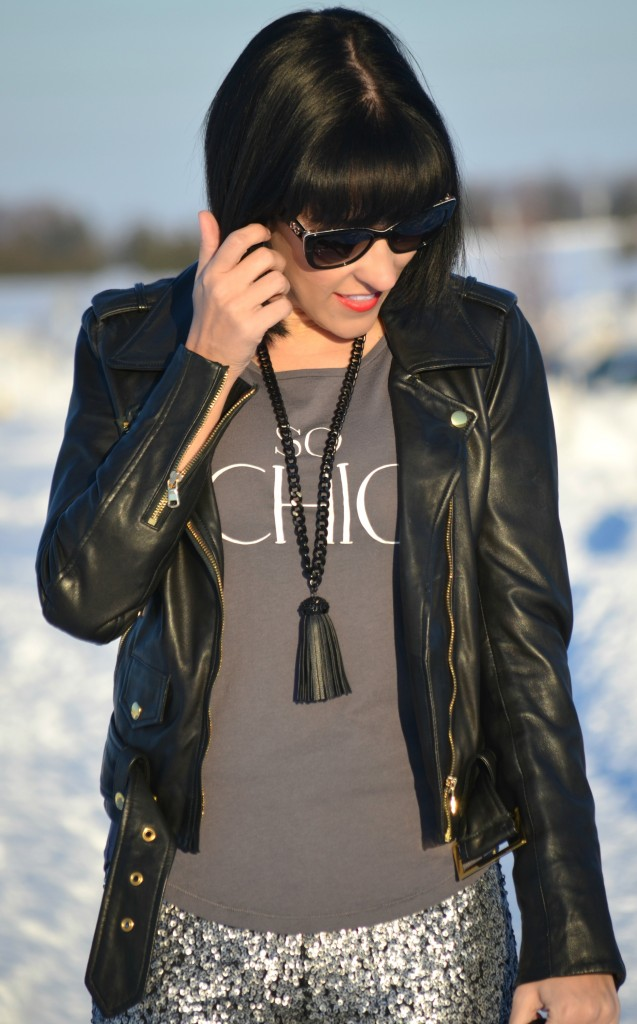 What I Wore, chic tee, smart set t-shirt, leather jacket, danier leather jacket, black purse, black handbag, silver sequin pants, black nine west booties, Canadian fashion bloggers