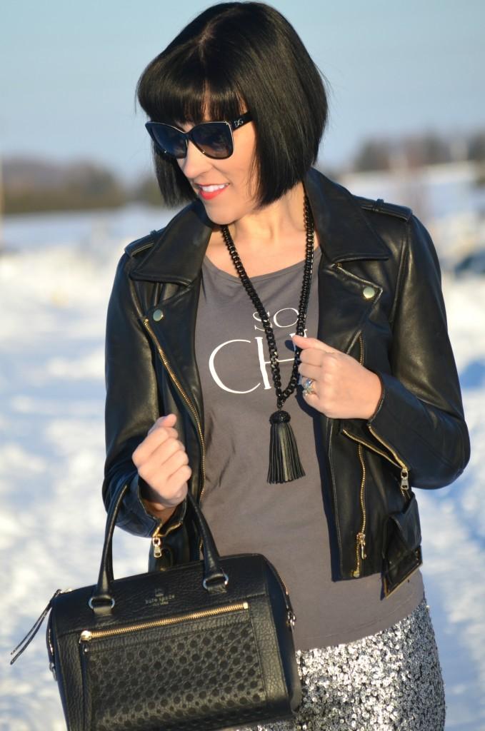 Kate Spade purse, kate spade handbag, black fringe necklace, Cocoa Jewelry, D&D Sunglasses,  SmartBuyGlasses, Sequin Pants, H&M pants, grey Bootie, Nine West boots