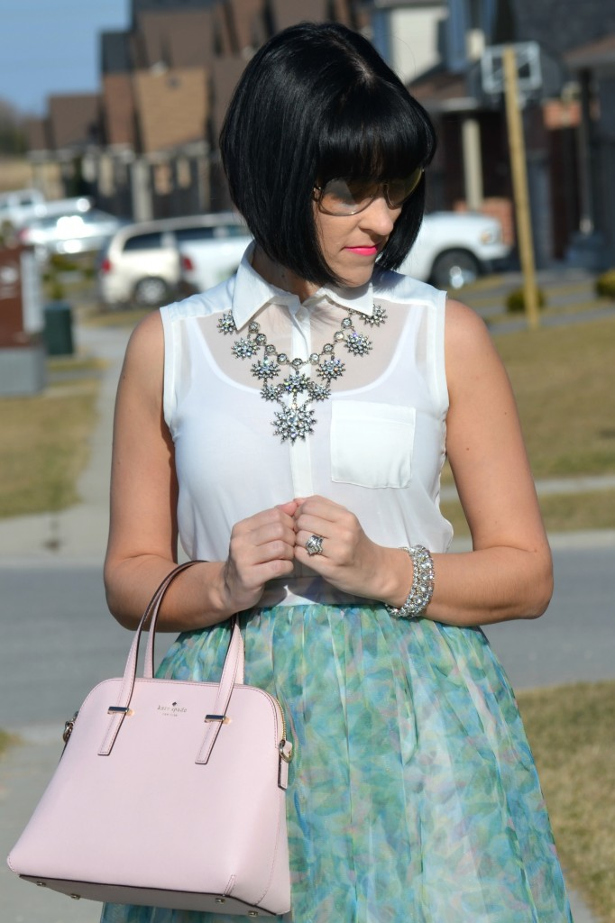 What I Wore, white Blouse, RW & Co blouse, statement Necklace, Cocoa Jewelry necklace, clear sunglasses, smart set sunglasses, pink Kate Spade Purse, Shopbop handbag, crystal bracelet