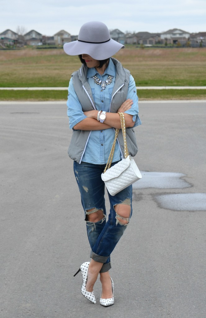 What I Wore, Denim Shirt, Smart Set denim shirt, bench vest, grey vest, grey floppy Hat, forever 21 hat, Canadian fashionista, white watch, fossil watch