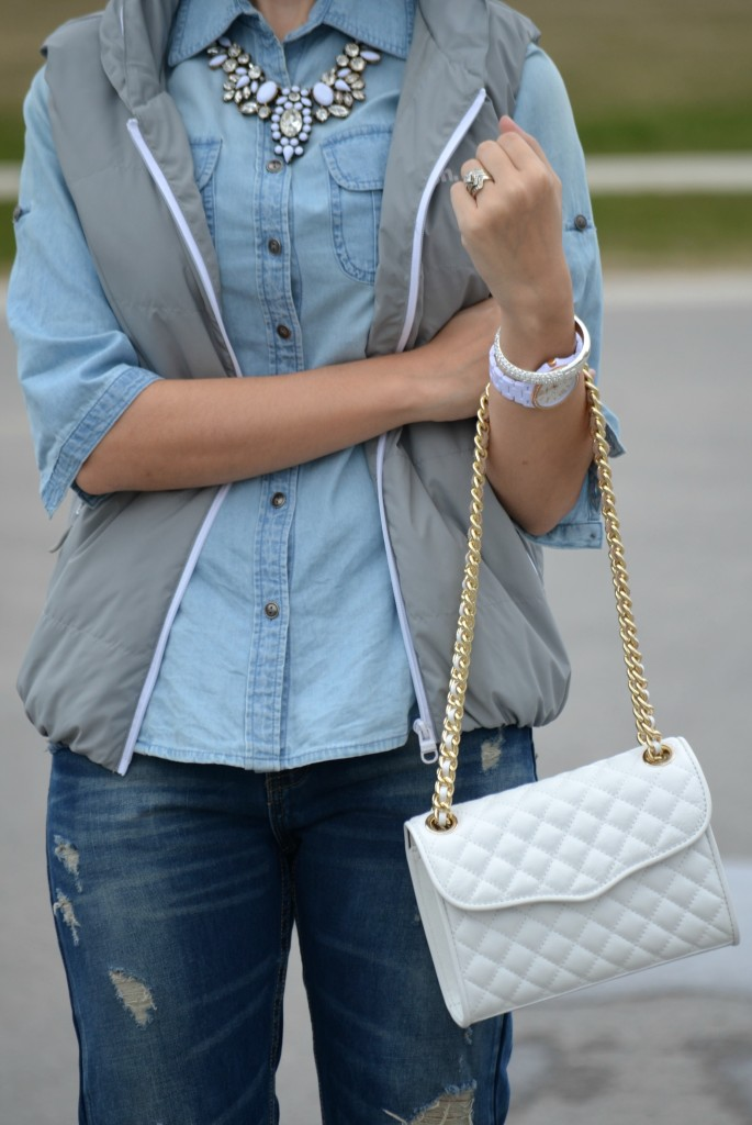 Silver Bracelet, Pinkstix, Rebecca Minkoff Purse, Boyfriend Jeans, Sheinside jeans, Polka Dot Pumps, Le Chateau heels, Canadian fashion blogger