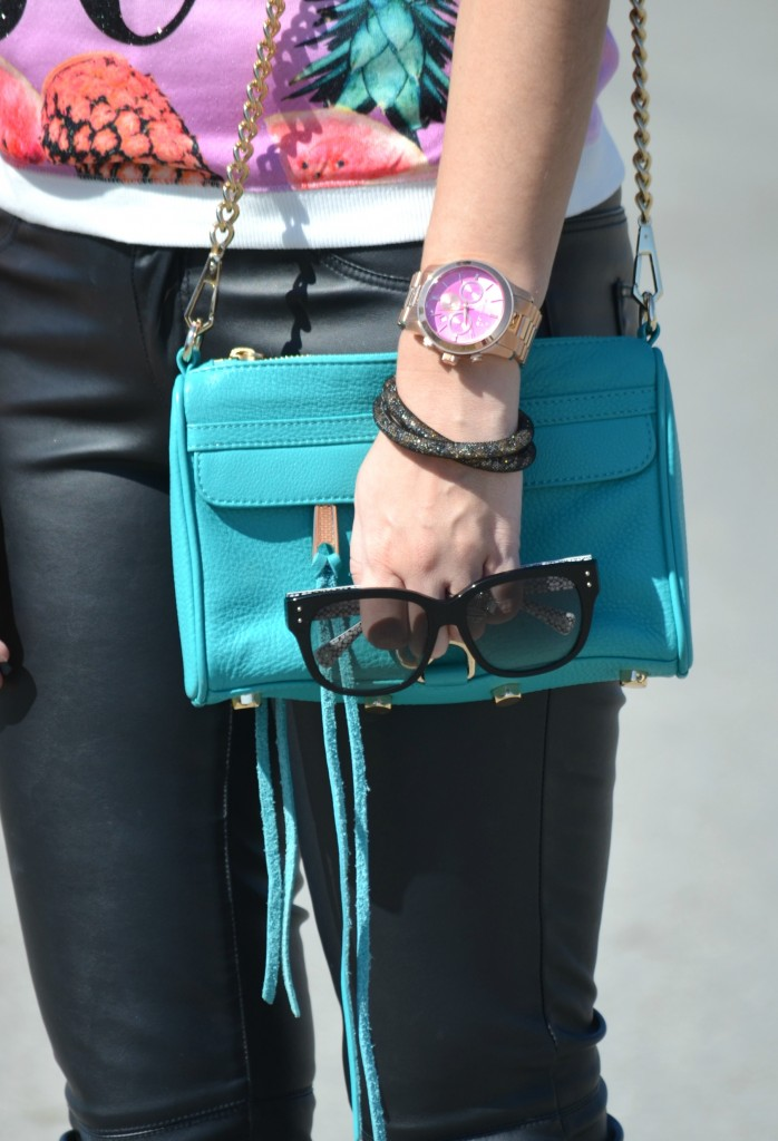 Juicy Couture Sweater, black coach sunglasses, teal Purse, Rebecca Minkoff handbag, Rose Gold Watch, Michael Kors watch, Swarovski bracelet, Faux Leather Pants, Ivanka Trump Pumps, Canadian fashionista