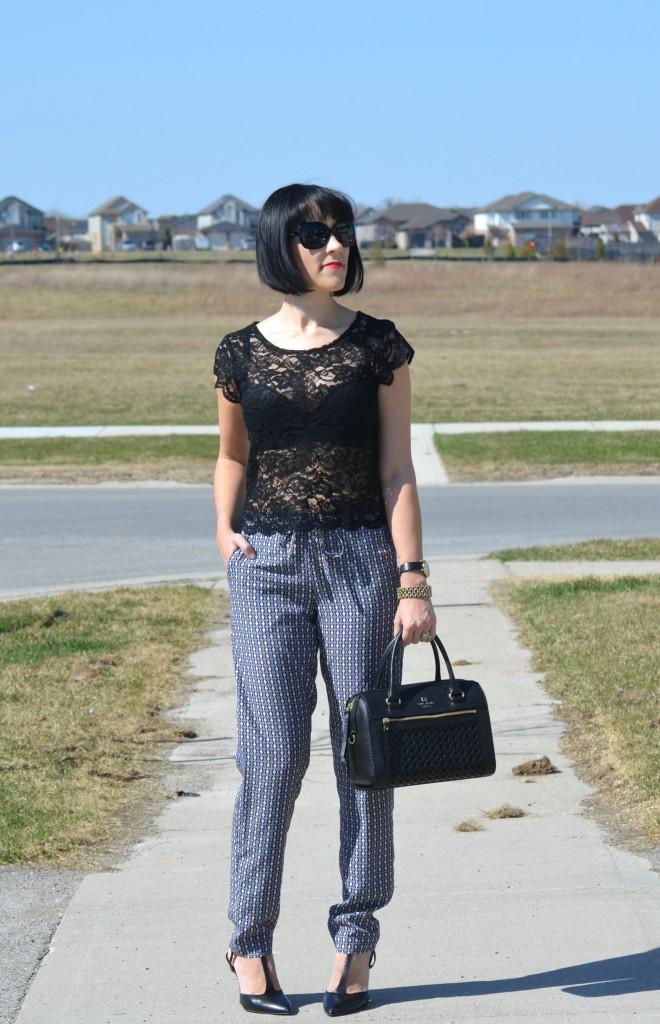 black studded Bracelet, Marc Jacob Watch, Shopbop watch, Pajama Pants, pj trousers, H&M pants, black high heels, nine west pumps