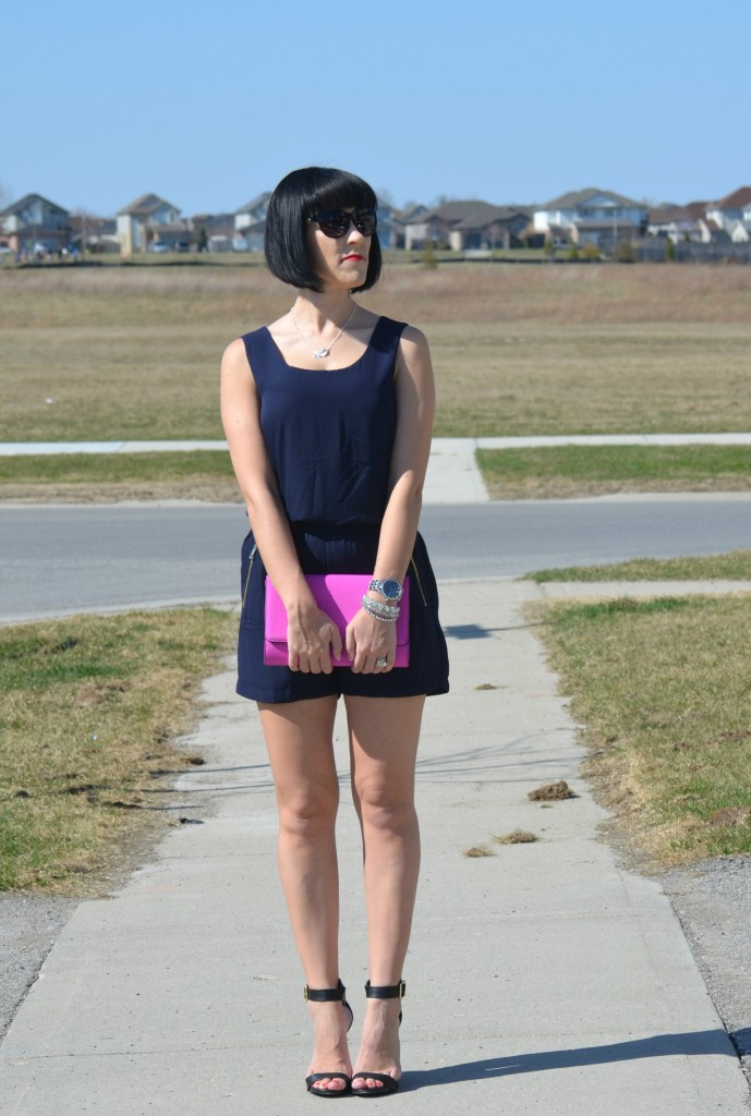 What I Wore, navy blue romper, avon romper, Leaf Necklace, Magnolia Silver necklace, purple clutch, H&M purse, black oversize sunglasses, silver Watch, Caravelle New York watch