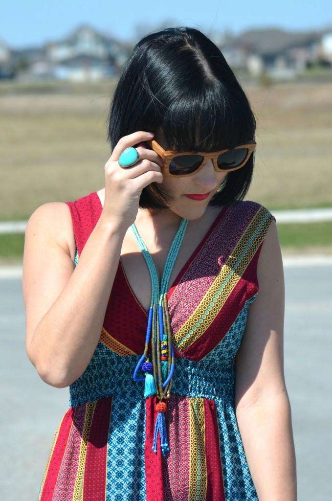 What I Wore, avon Maxi Dress, loft Necklace, wood Sunglasses, Polette, teal Ring, Stella & Dot ring, wood bracelet, target Sandals, Canadian fashionista