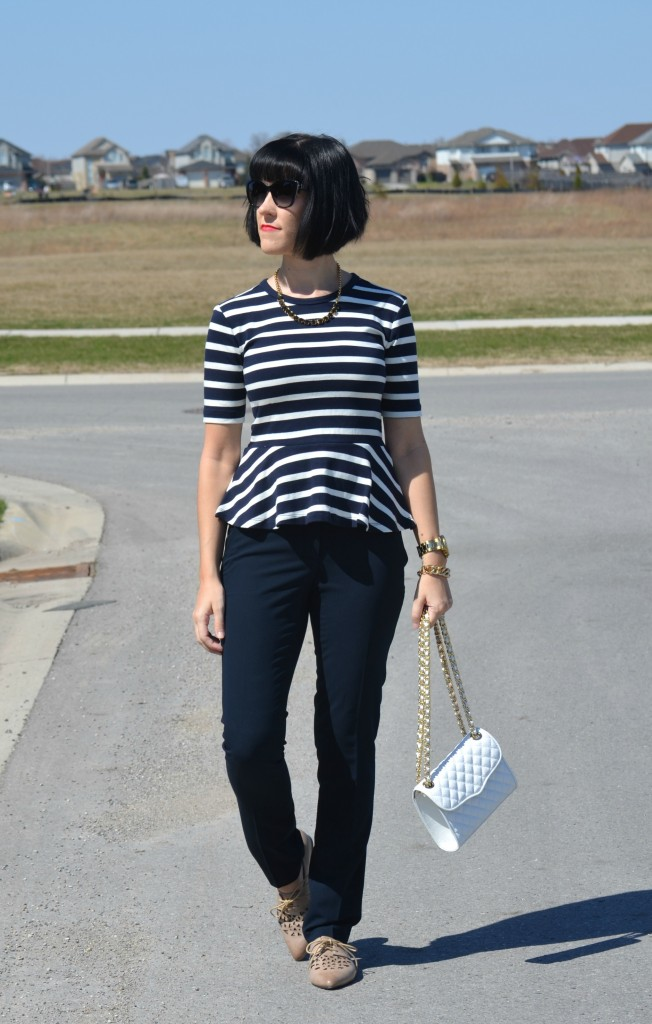 What I Wore, Canadian fashionista, Peplum Top, The Gap blouse, black Necklace, Kate Spade necklace, Rebecca Minkoff Purse, Shopbop purse, gold statement watch, guess watch
