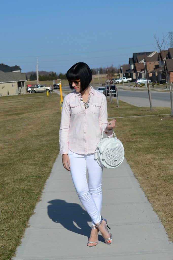 What I Wore, Pink Denim Top, Scotch and Soda top, wood Sunglasses, Polette sunglasses, pink Necklace, smart Set necklace, crystal Bracelet, pearls For Girls bracelet, Swarovski bracelet
