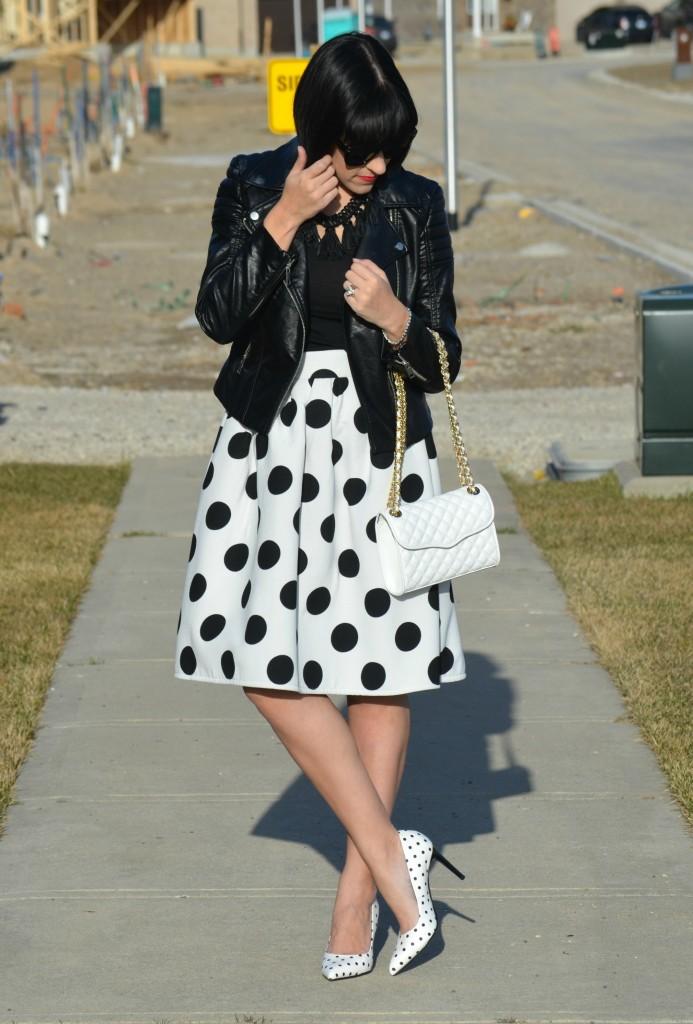 State 1 Leather Jacket, Nordstrom Warehouse Sale, Rebecca Minkoff Purse, Shopbop purse, polka-dot skirt, Sheinside skirt, Polka Dot Pumps, Le Chateau shoes, Canadian fashionista