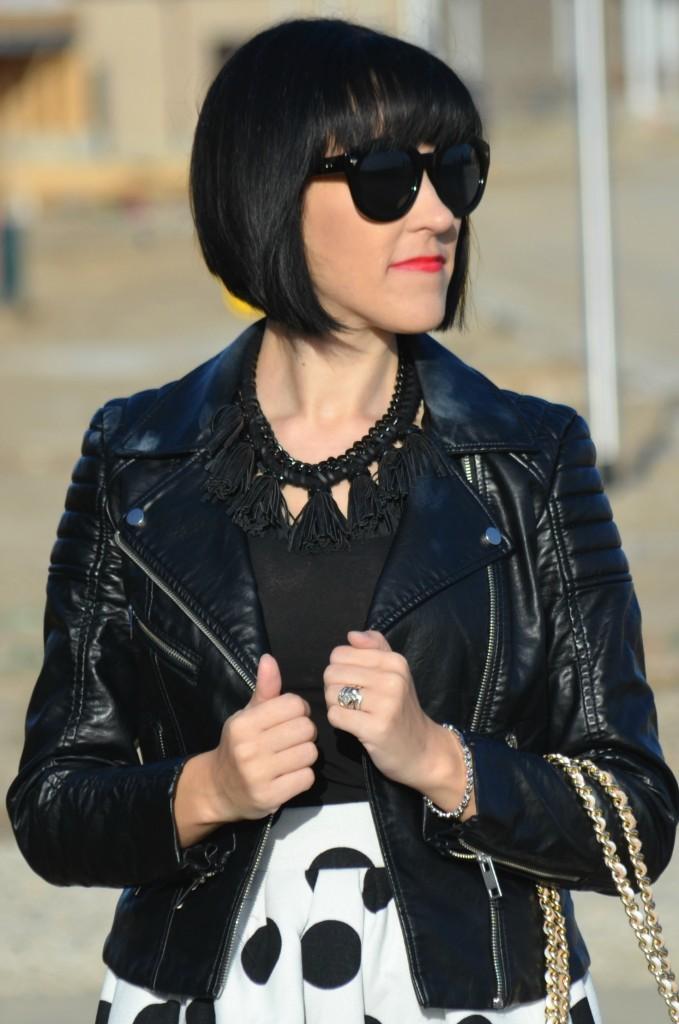 What I Wore, black Tee, smart set t-shirt, statement necklace, Cocoa Jewelry, black oversize sunglasses, polette sunglasses, crystal bracelet, Swarovski bracelet, Canadian fashion blogger
