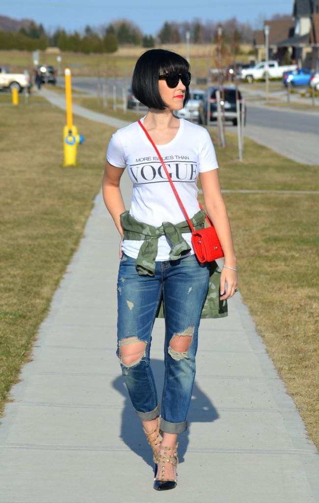 Red Purse, PinkStix purse, Ripped Boyfriend Jeans, Sheinside jeans, Rockstud Heels, bCBG pumps, Canadian fashionista