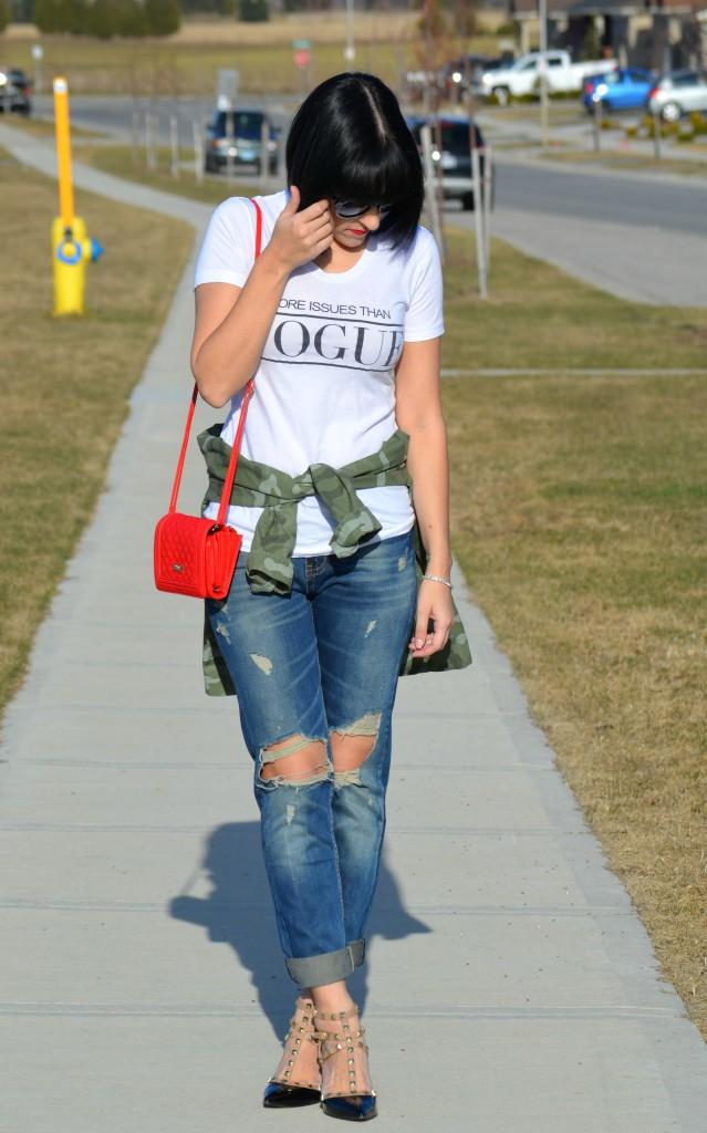 What I Wore, Vogue Tee, Style Lately tee, black oversize Sunglasses, Polette sunglasses, Army Camo Jacket, The Gap jacket, crystal Bracelet, Swarovski bracelet, Canadian fashion blogger