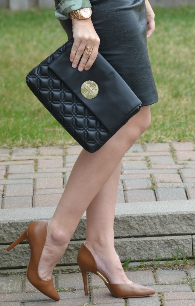 Michael Kors watch, black kate spade purse, Kate Spade handbag, Faux Leather Skirt, H&M skirt, nude Pumps, Target shoes, brown heels