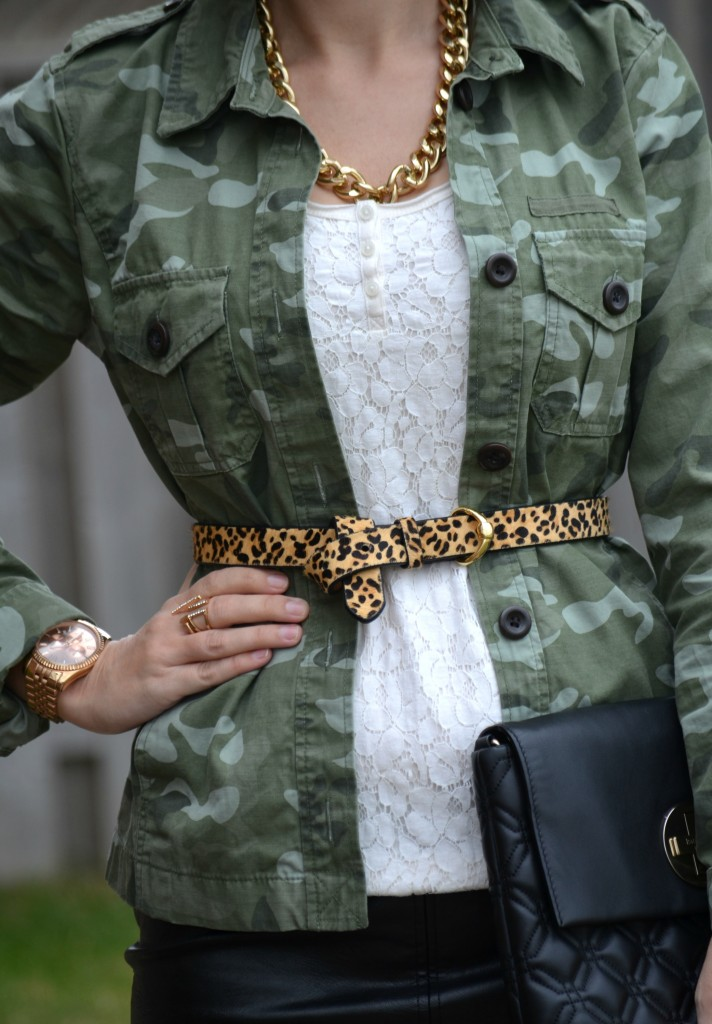 What I Wore, Canadian fashionista, Lace Blouse, Smart Set blouse, gap Camo Jacket, The Gap jacket, Animal Print Belt, The Bay belt, gold avon rings, Rose Gold Watch