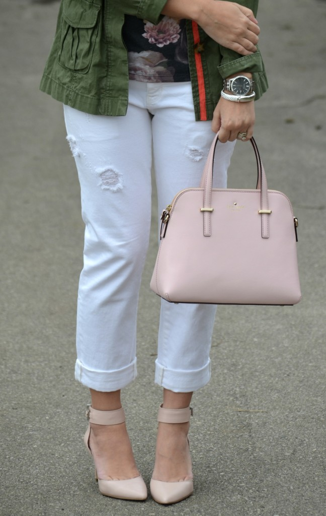 silver Watch, Caravelle New York, silver statement Bracelet, Pinkstix, white Boyfriend Jeans, the gap boyfriend jeans, nude Pumps, Canadian fashionista