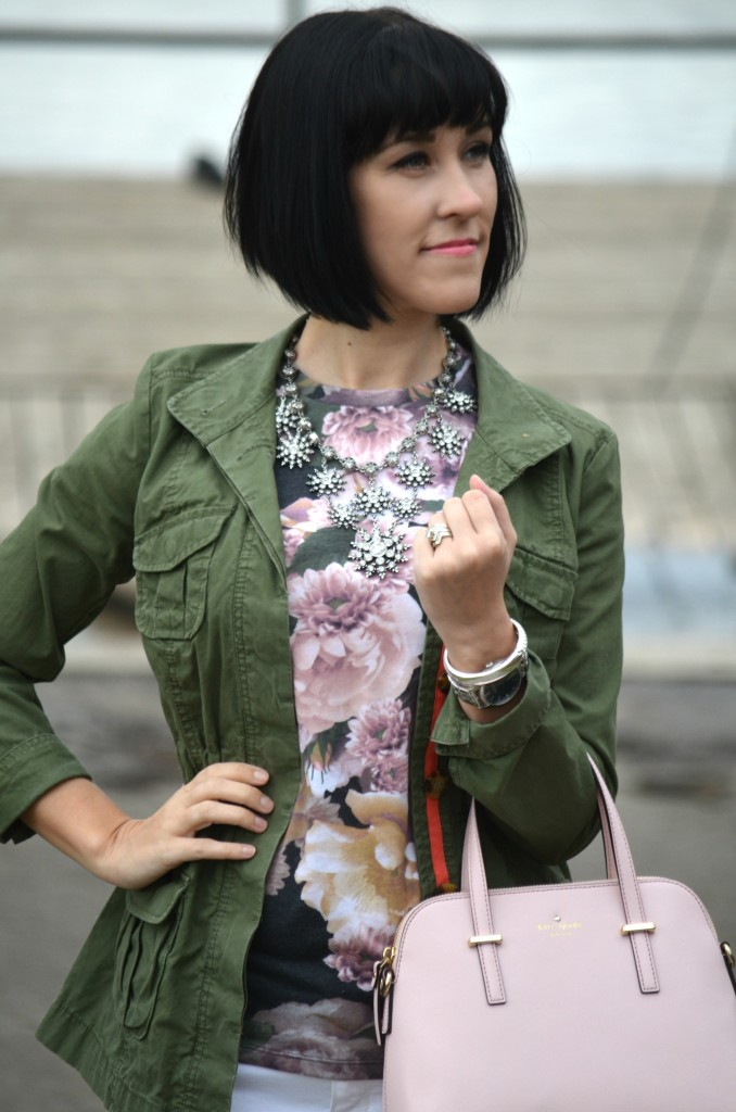 What I Wore, joe fresh Floral Tee, Joe Fresh t-shirt, Army green Jacket, Old Navy jacket, statement necklace, cocoa jewelry, kate spade purse, pink kate spade handbag, shopbop purse