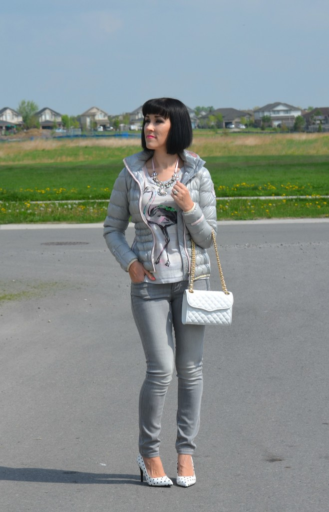 What I Wore, Canadian fashionista, flamingo tee, statement pink necklace, Rebecca Minkoff Purse, Shopbop, puffy jacket, Eleven Elfs, grey skinny jeans, Polka Dot Heels