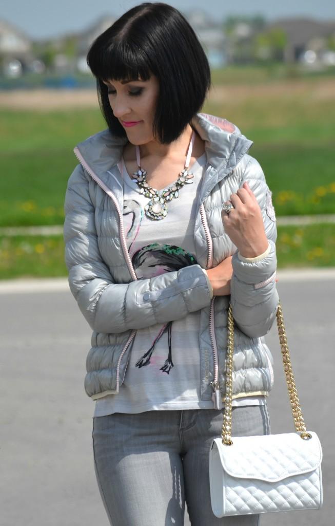 What I Wore, Canadian fashionista, flamingo tee, statement pink necklace, Rebecca Minkoff Purse, Shopbop, puffy jacket, Eleven Elfs, grey skinny jeans, Polka Dot Heels
