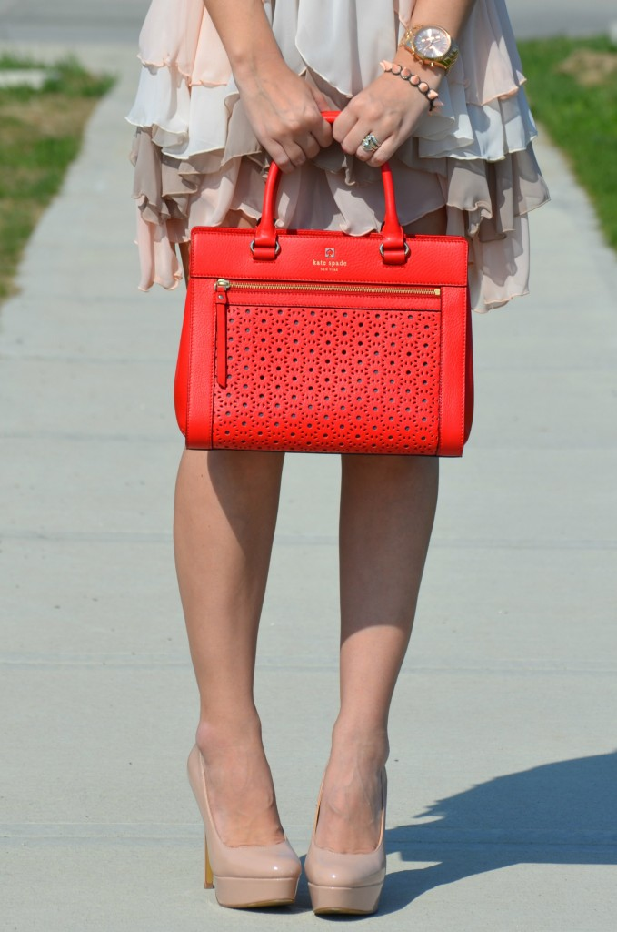 The Bay bracelet, Rebecca Minkoff Purse, white Rebecca minkoff purse, Shopbop purse, nude pumps, canaidan fashion blogger